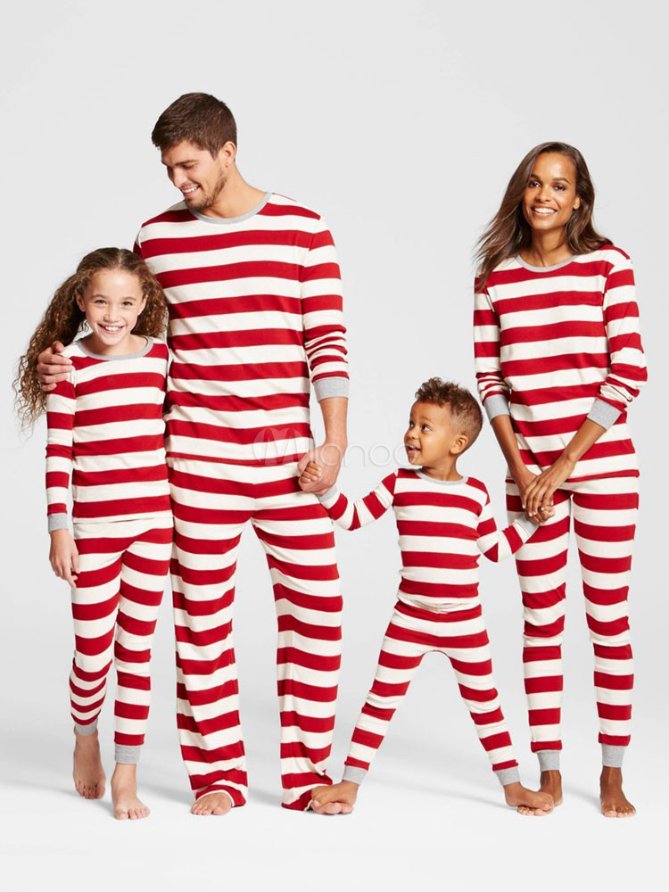 b0247a95791b Pijamas de Familia un Juego Navidad Bebé Rojo Algodón Rayado Pantalones y  Top 2 Piezas Juego ...