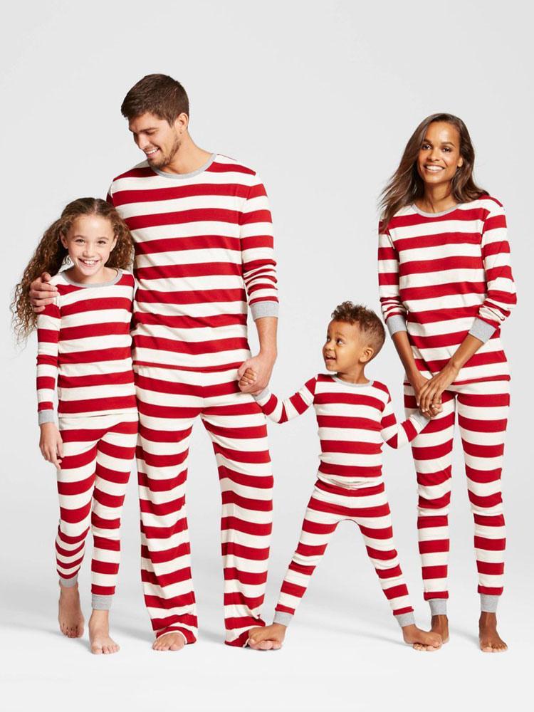 Pijamas De Familia Un Juego Navidad Ninos Rojo Algodon Rayado