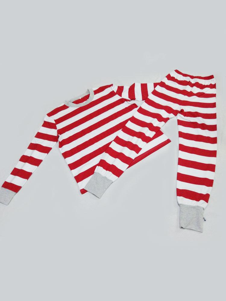 7f982e0169 ... Pijamas de Familia un Juego Navidad Niños Rojo Algodón Rayado Pantalones  y Top 2 Piezas Juego ...