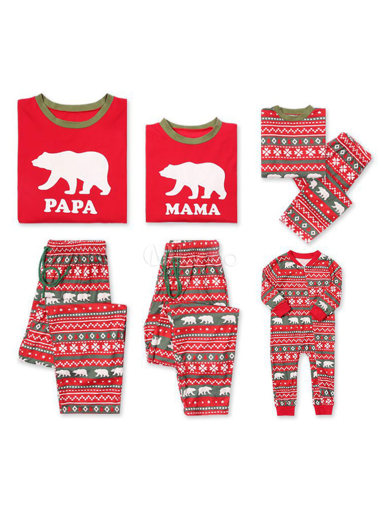 Christmas Family Matching Pajamas Father Red Printed Top And Pants 2 Piece  Set For Men- fdfefa25d