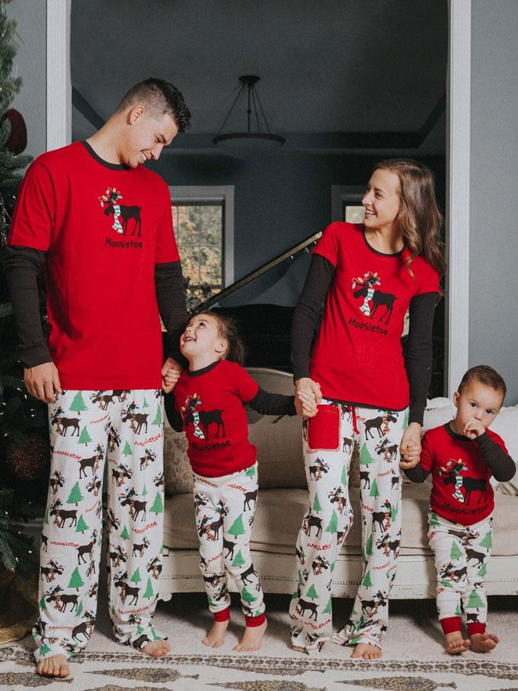 Un Juego Navidad Pijamas De Familia Ninos Rojo Impreso Top Y