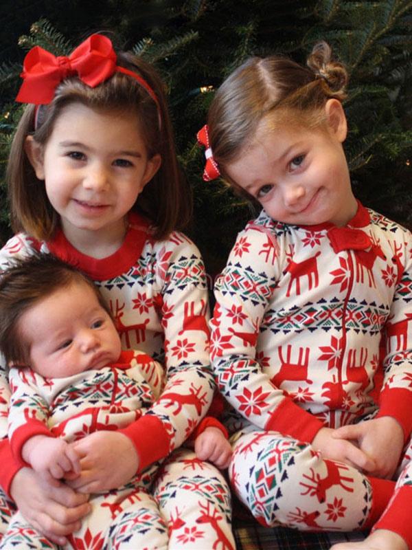 Pijamas De Familia Un Juego Navidad Bebe Rojo Reno Impreso Mono Para