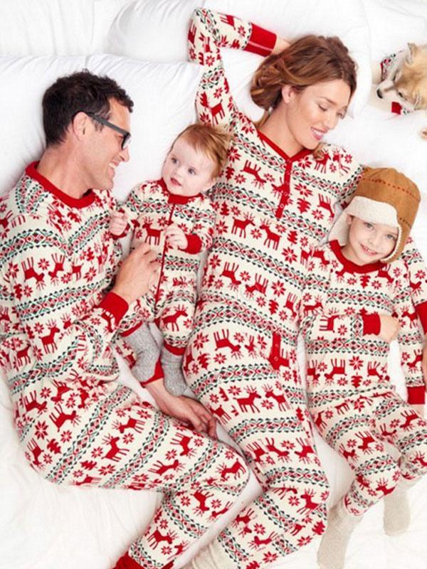 504f0245d2 ... Pijamas de Familia un Juego Navidad Niños Rojo Reno Impreso Top y  Pantalones 2 Piezas Juego ...