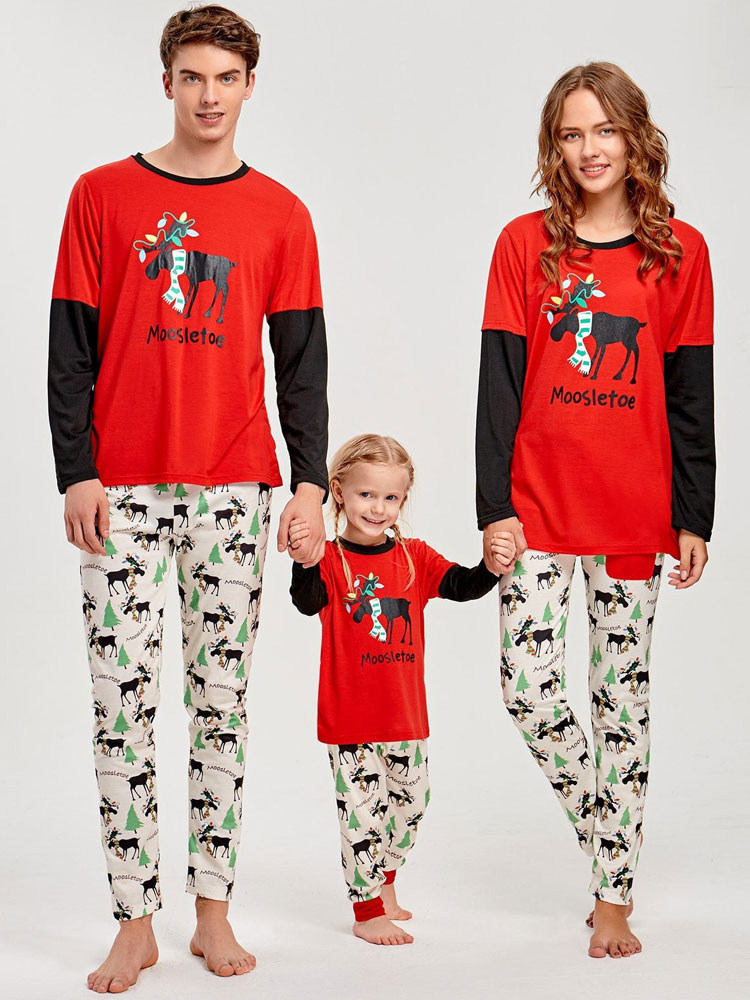 ... Matching Christmas Pajamas Family Mother Red Printed Top And Pants 2  Piece Set For Women- ... c579adce9