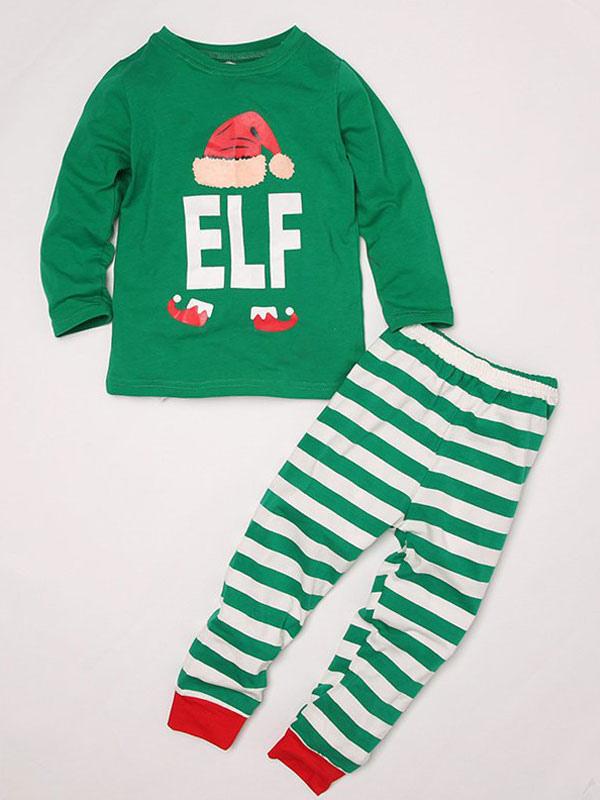 c241ee89b0 ... Navidad un Juego de Familia Pijamas Niños Rayas Verdes Impreso Top y  Pantalones 2 Piezas Juego