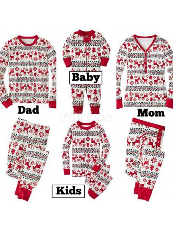 968a4b7d12 ... Pijamas de Familia un Juego Navidad Niños Rojo Reno Impreso Top y  Pantalones 2 Piezas Juego