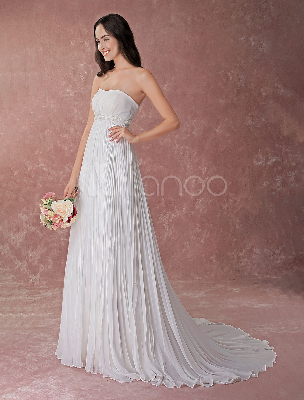 Ivory Wedding Dress Strapless Pleated Chiffon Beading Beach Bridal Gowns With Train No 1