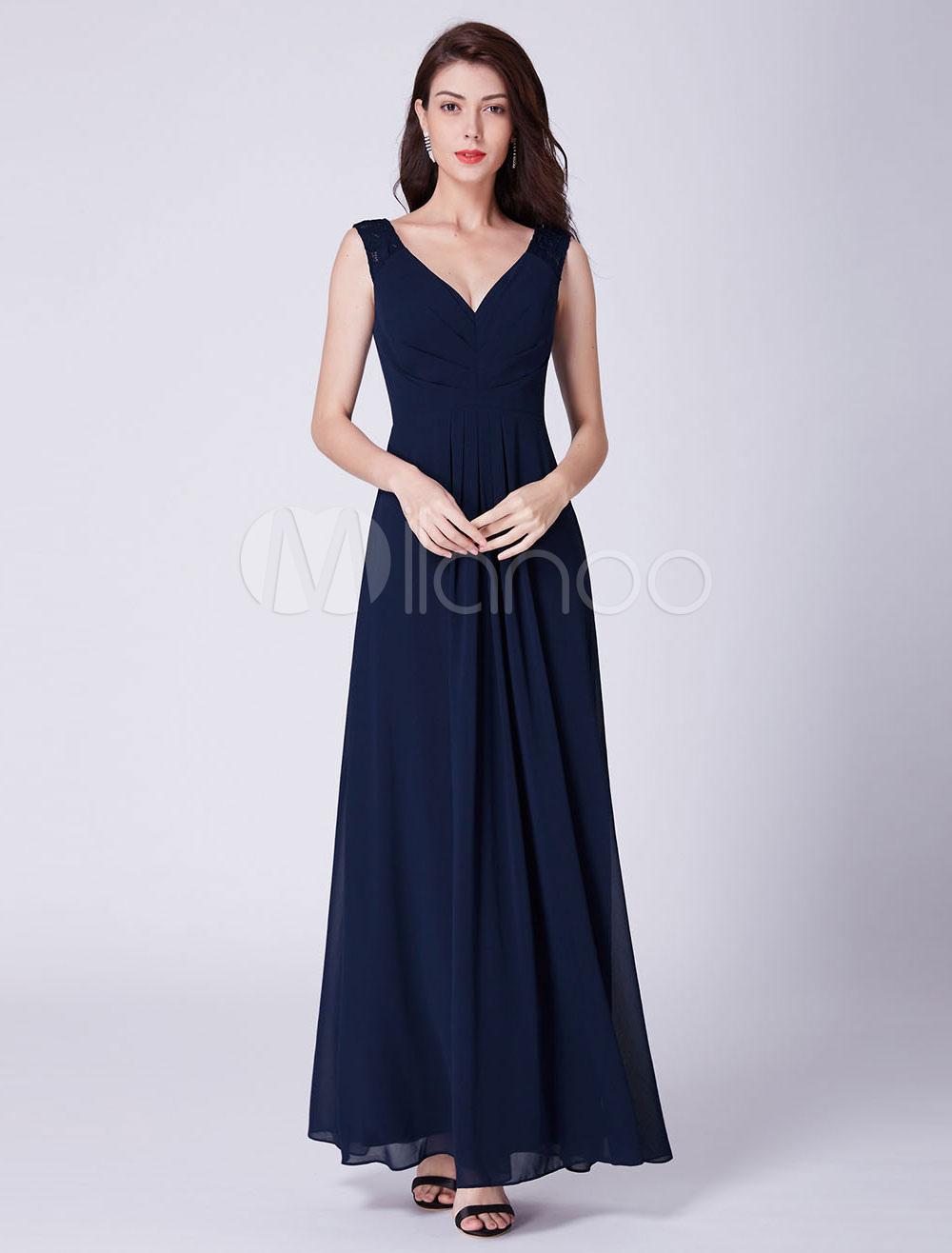 Ballkleider Lang V-Ausschnitt Brautjungfernkleid Dunkel Navy Chiffon  bodenlangen Abendkleid