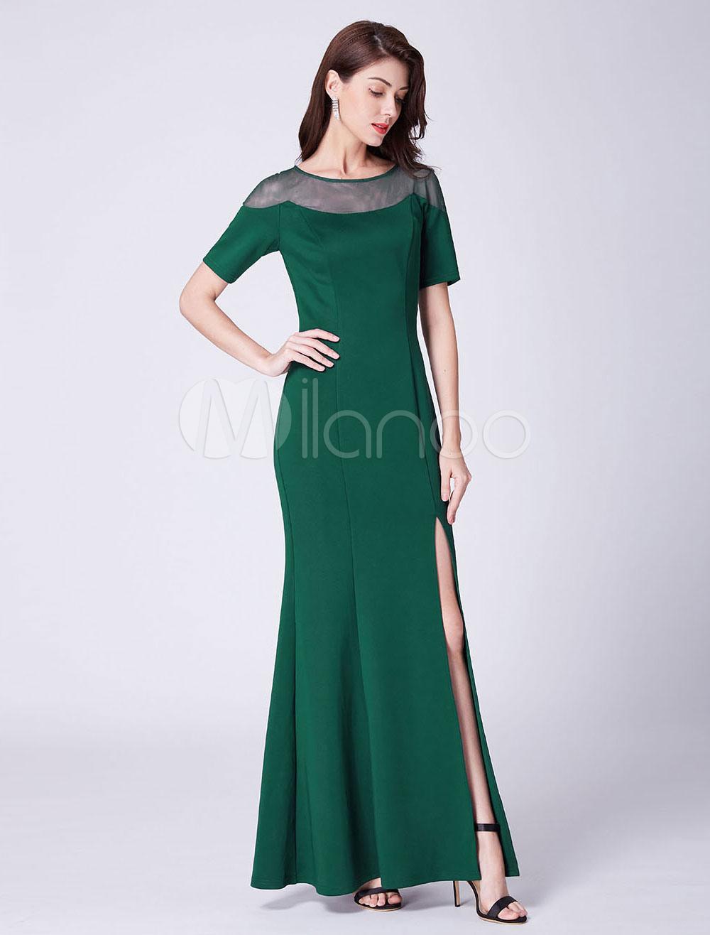 pick up 08ced 73ba5 Abiti da sera verde scuro manica corta sexy abito da sposa fessura