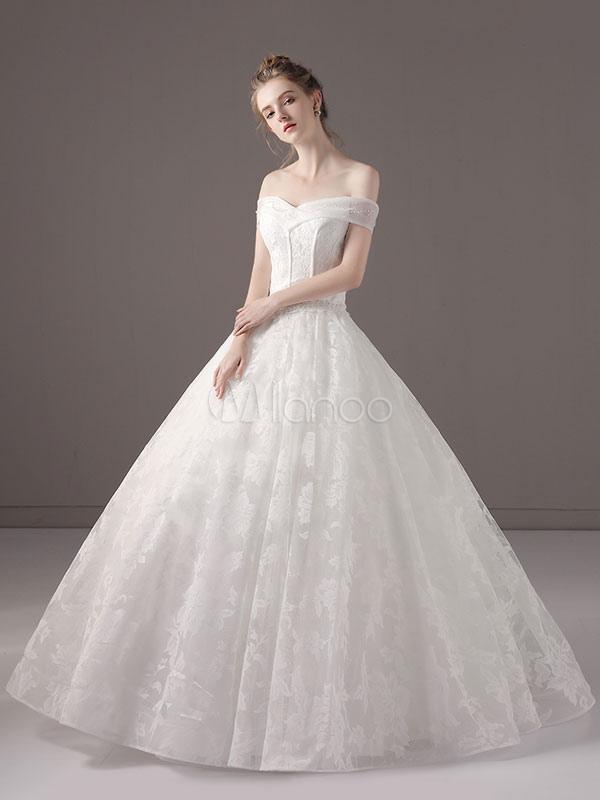 Vestidos de novia Vestido de fiesta Princesa Ivory Off The Shoulder Encaje  Vestido largo de novia ... 04158eccf6bc