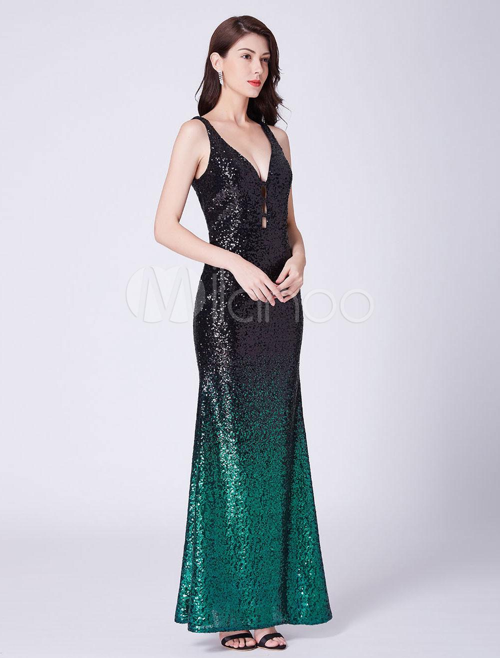 1516c413a847c ... الترتر فساتين السهرة الأسود الخامس الرقبة بلا أكمام ثوب الحفلة الراقصة  حورية البحر الطابق طول اللباس ...