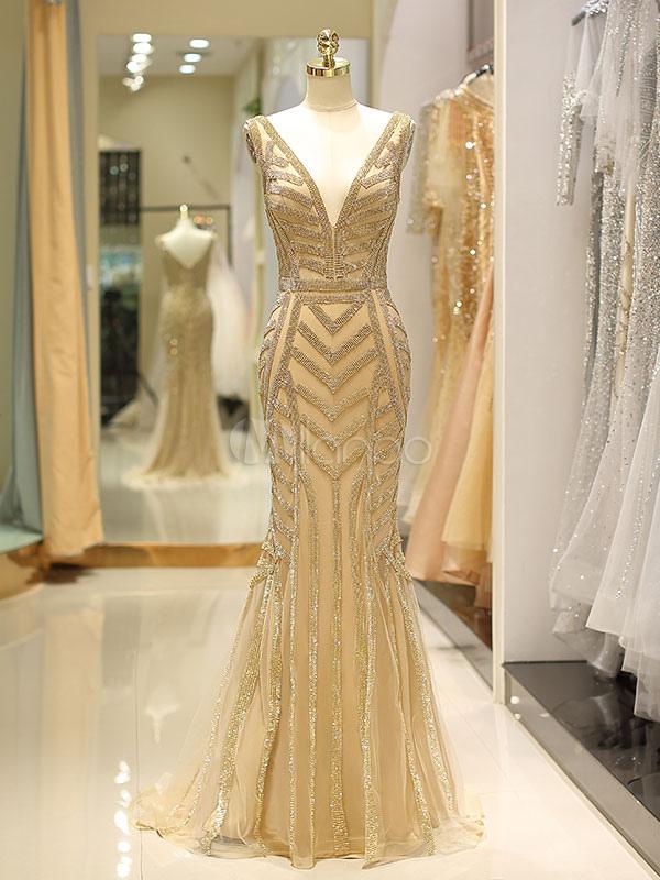 3b87f23137e Luxury Evening Dresses V Neck Heavy Beaded Light Gold Halter Mermaid Formal  Gowns With Train- ...