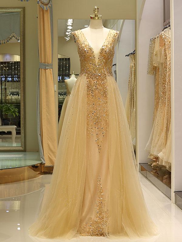 e38a5dd8459 ... Вечерние платья Серый роскошный тяжелый вышитый бисером тюль Backless V  шеи формальное вечернее платье с поездом ...