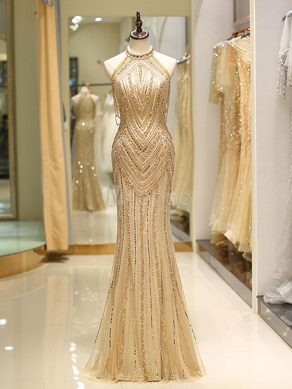 f68d540f9eb Prom Dresses Long Light Gold Halter Heavy Beaded Maxi Luxury Evening Dress-No.1  ...