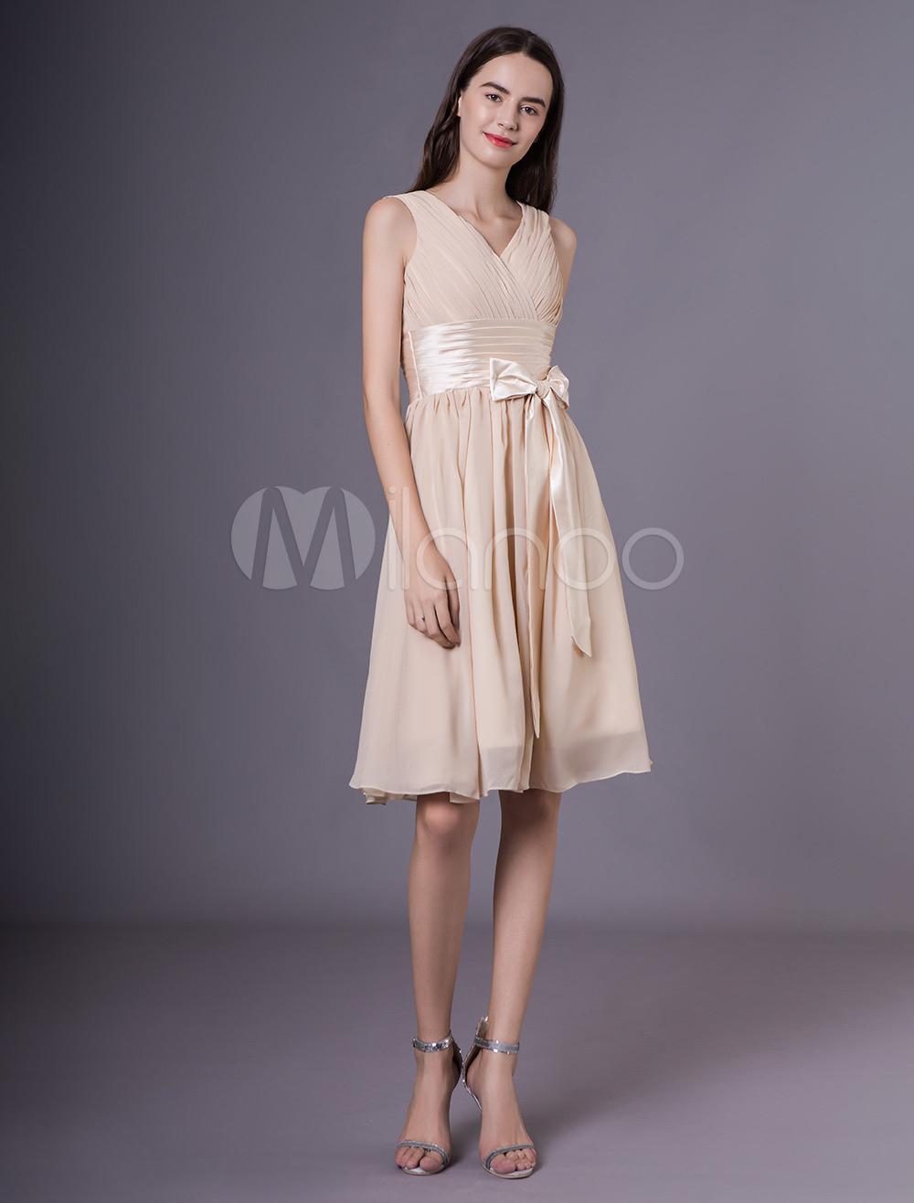 ac42c0850 ... Vestidos cortos de dama de honor Champagne gasa arco Sash vestido de  fiesta de boda- ...