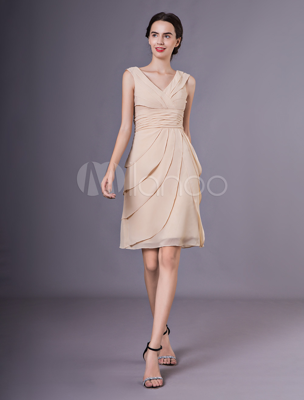 fb5ac60dd4d Wedding Guest Dresses Chiffon Short Tiered Champagne V Neck Mother Dress-No.1  ...