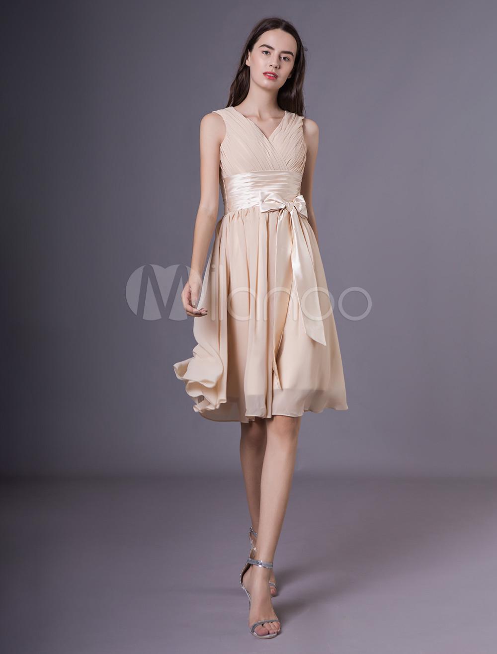 Kurze Brautjungfer Kleider Champagne Chiffon Bow Sash Hochzeit Kleid
