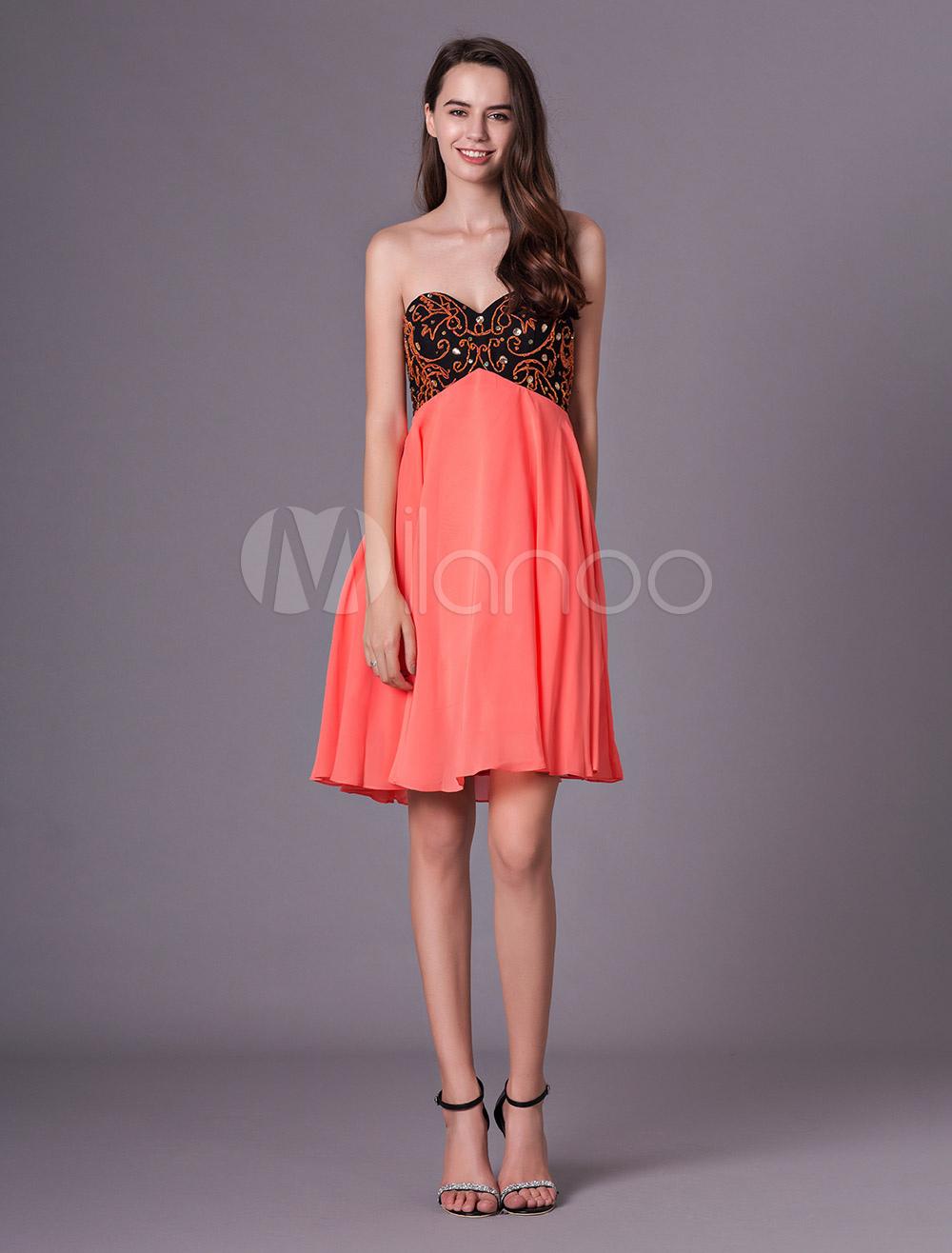 b302d2e2c ... Vestidos de fiesta de cóctel Naranja rojo corto sin tirantes con  cuentas vestido de fiesta- ...