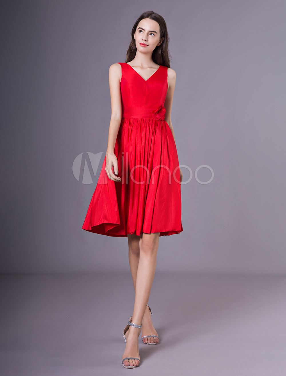Cocktail Party Dresses Red V Neck Taffeta Flower Wedding Guest Dress