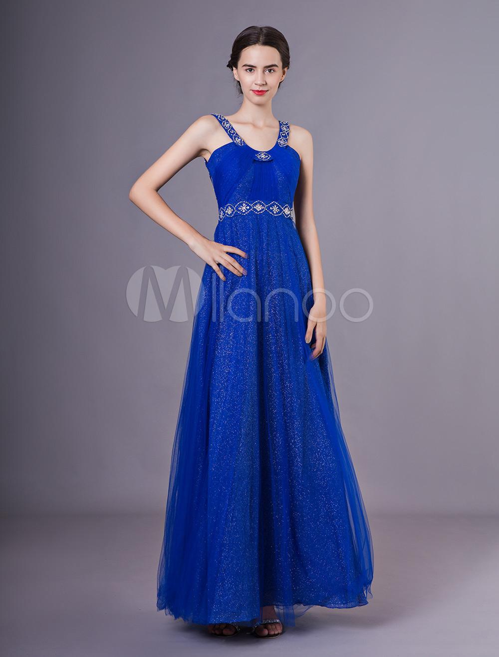 Abendkleider formale k nigsblau t ll ausschnitt perlen pailletten bodenlangen abschlussball - Milanoo abendkleider ...