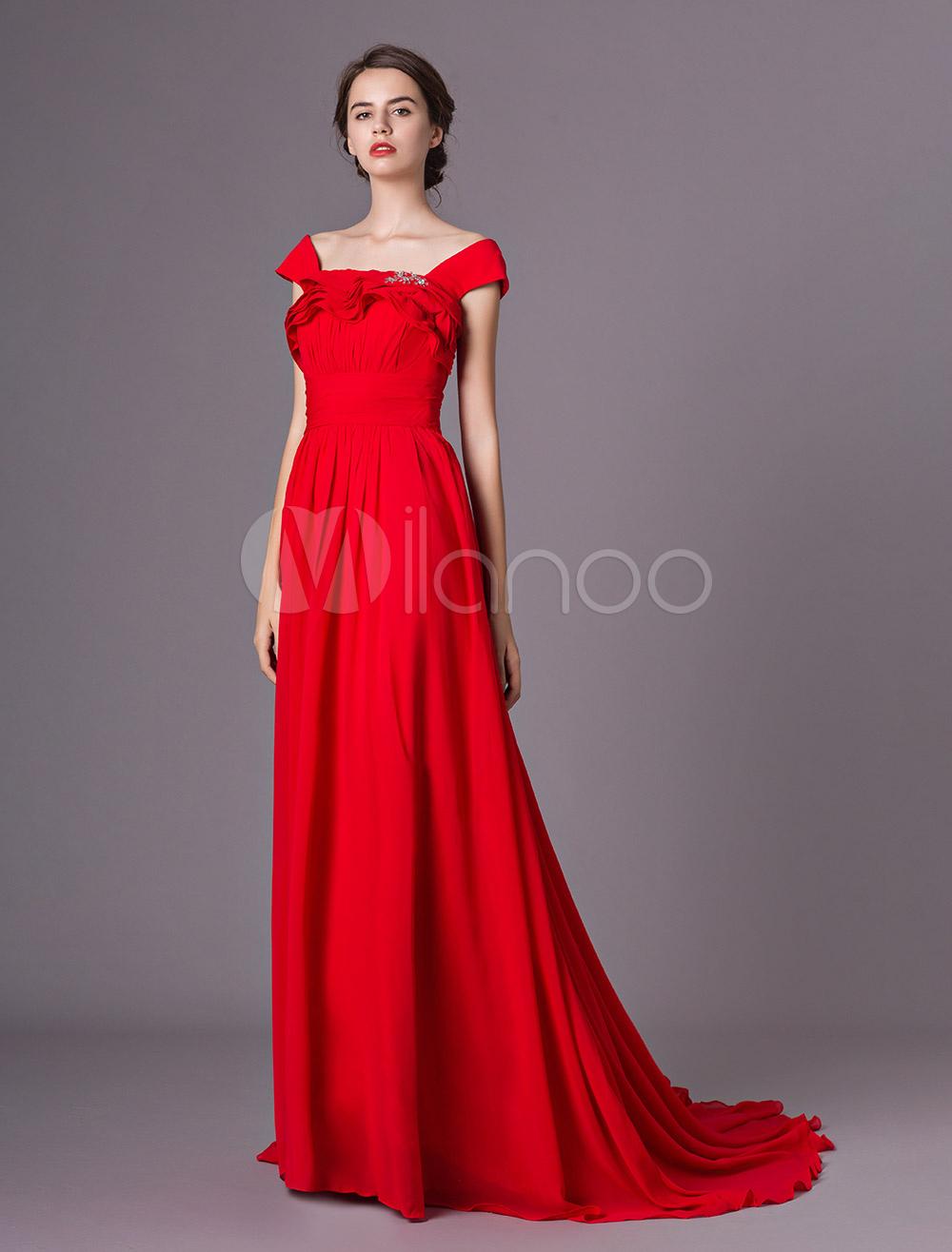 bd406a1a6e3d Abiti da sera rossi che bordano gli abiti convenzionali chiffon pieghettati  con il treno-No ...