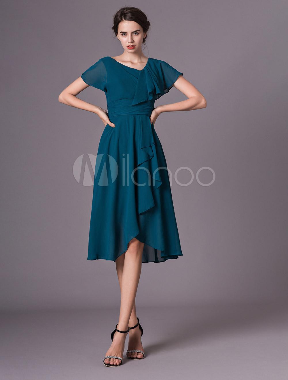 brautmutterkleider a-linie- abendkleider für hochzeit chiffon kleider für  hochzeitsgäste tintenblau kurzarm v-ausschnitt mit unsymmetrischem design