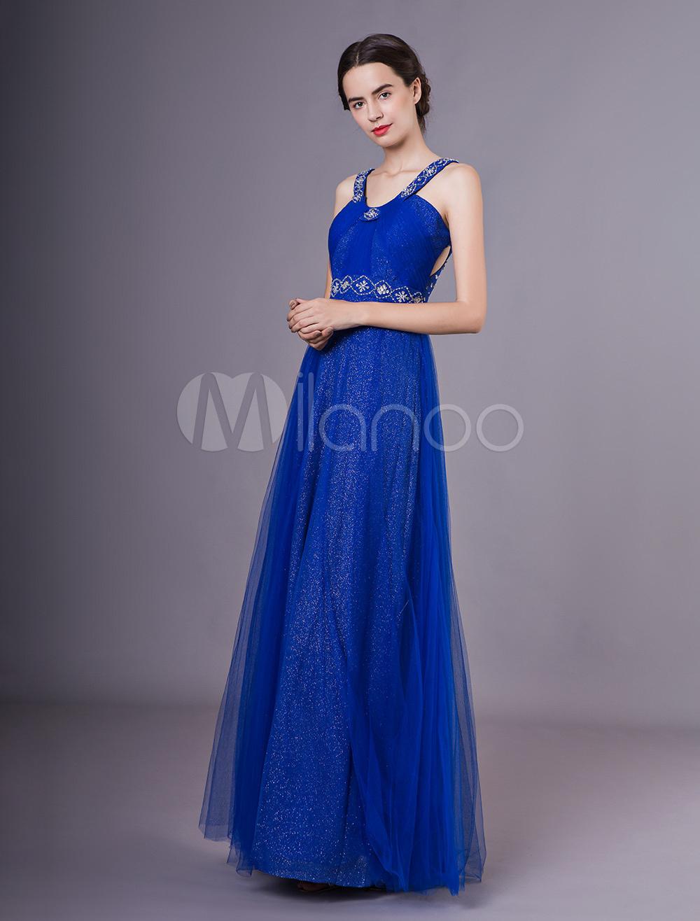 Abendkleider formale k nigsblau t ll ausschnitt perlen - Kleider milanoo ...
