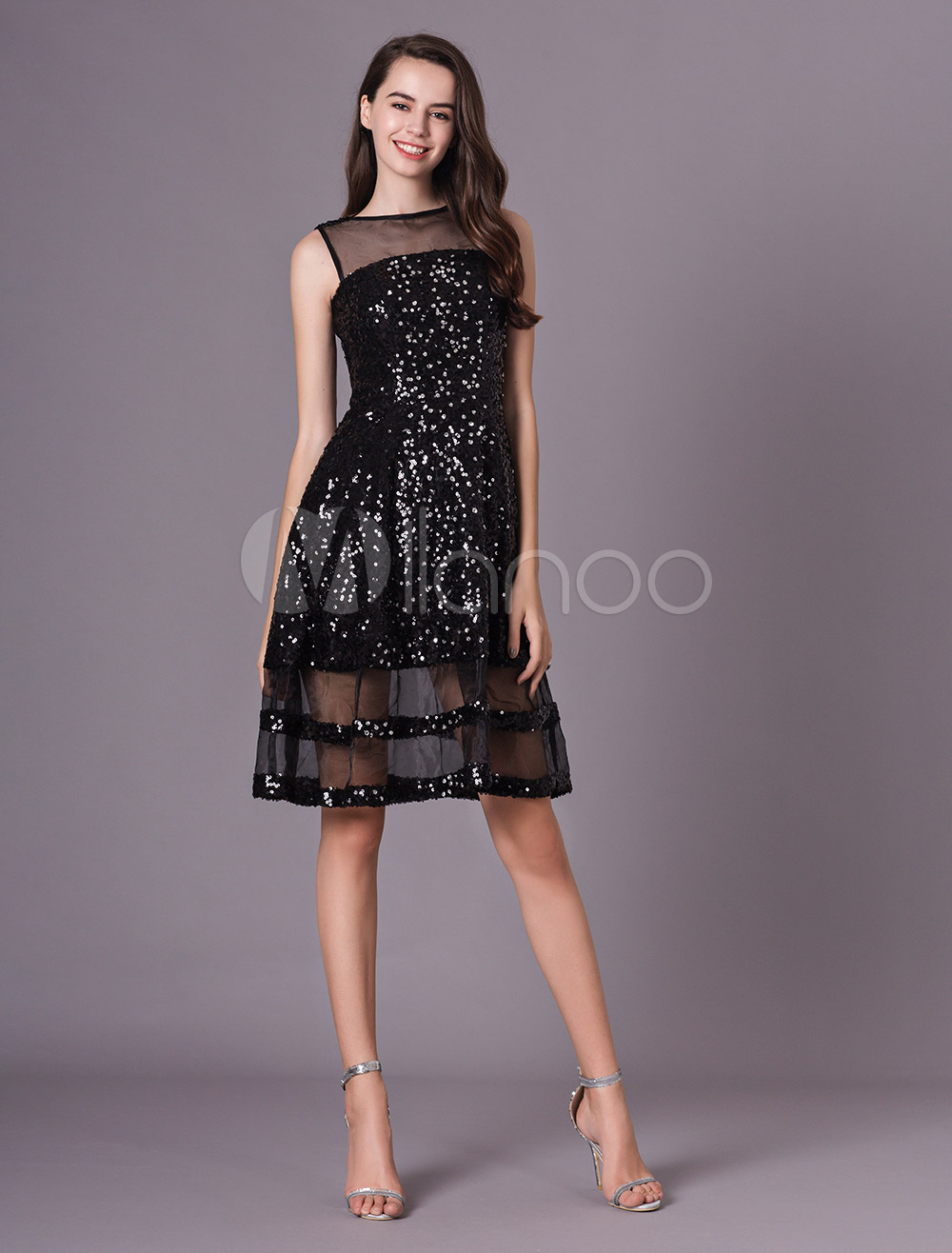 5e21cd723ef Wedding Guest Dress Black Sequin Illusion Short Cocktail Party Dress-No.1  ...