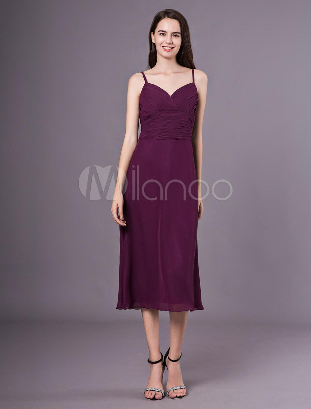 acfaf0805 ... Ameixa vestidos de dama de honra curto Chiffon Correias Tea Length  Wedding Party Dress-No ...