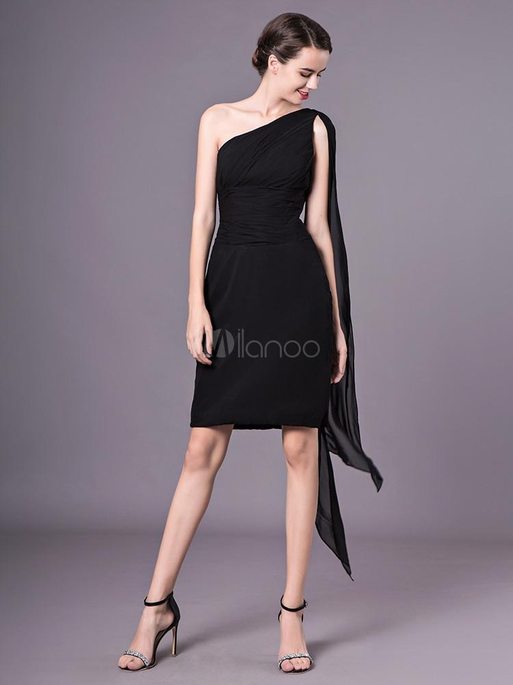2f8fbc176de Black Cocktail Dress One Shoulder Bridesmaid Dress Chiffon Sheath Wedding  Party Dress-No.1 ...