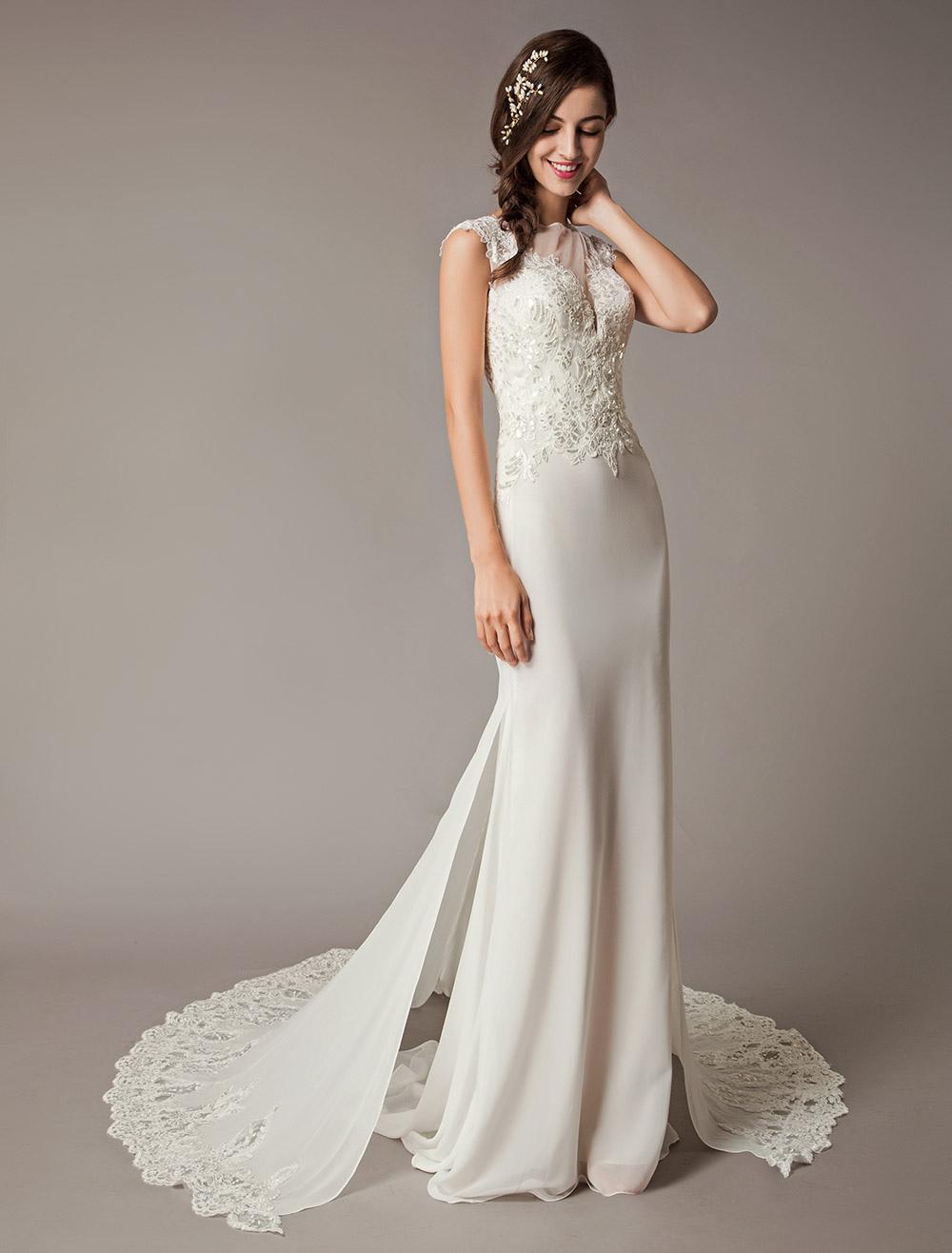f917b56b Ivory Wedding Dresses Chapel Train Lace Sequin Chiffon Sleeveless Sheath  Column Bridal Dress-No.