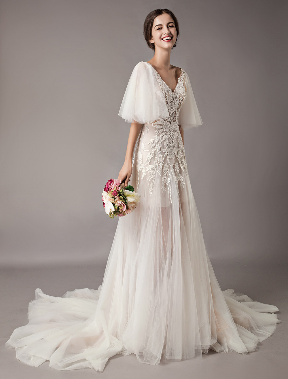 40565f38fba ... Boho Wedding Dresses Tulle Lace V Neck Butterfly Sleeve Backless Summer  Beach Bridal Gowns-No ...