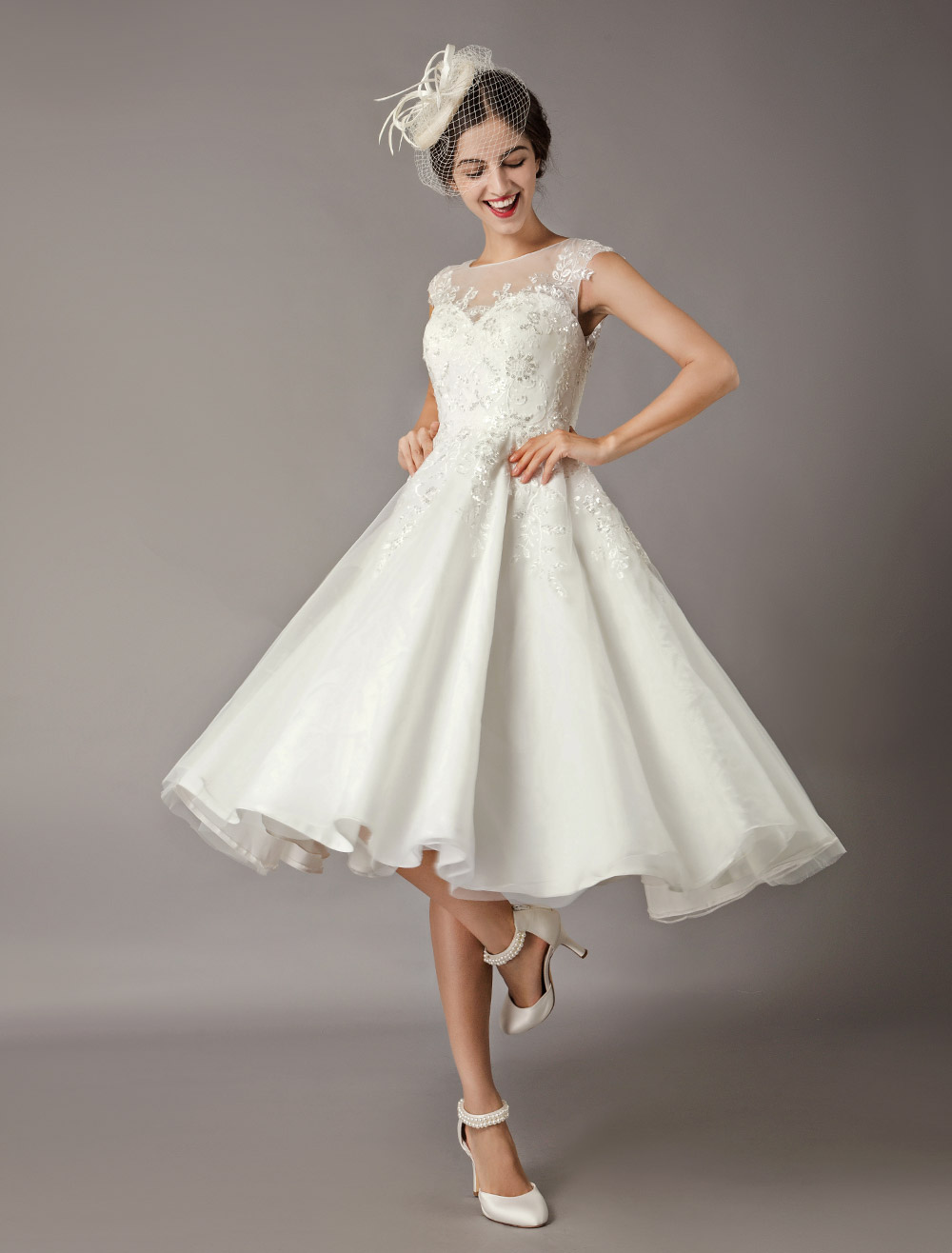 Vintage Wedding Dresses Short Lace Tulle Sequin Tea Length Ivory Bridal Dress Milanoo Com