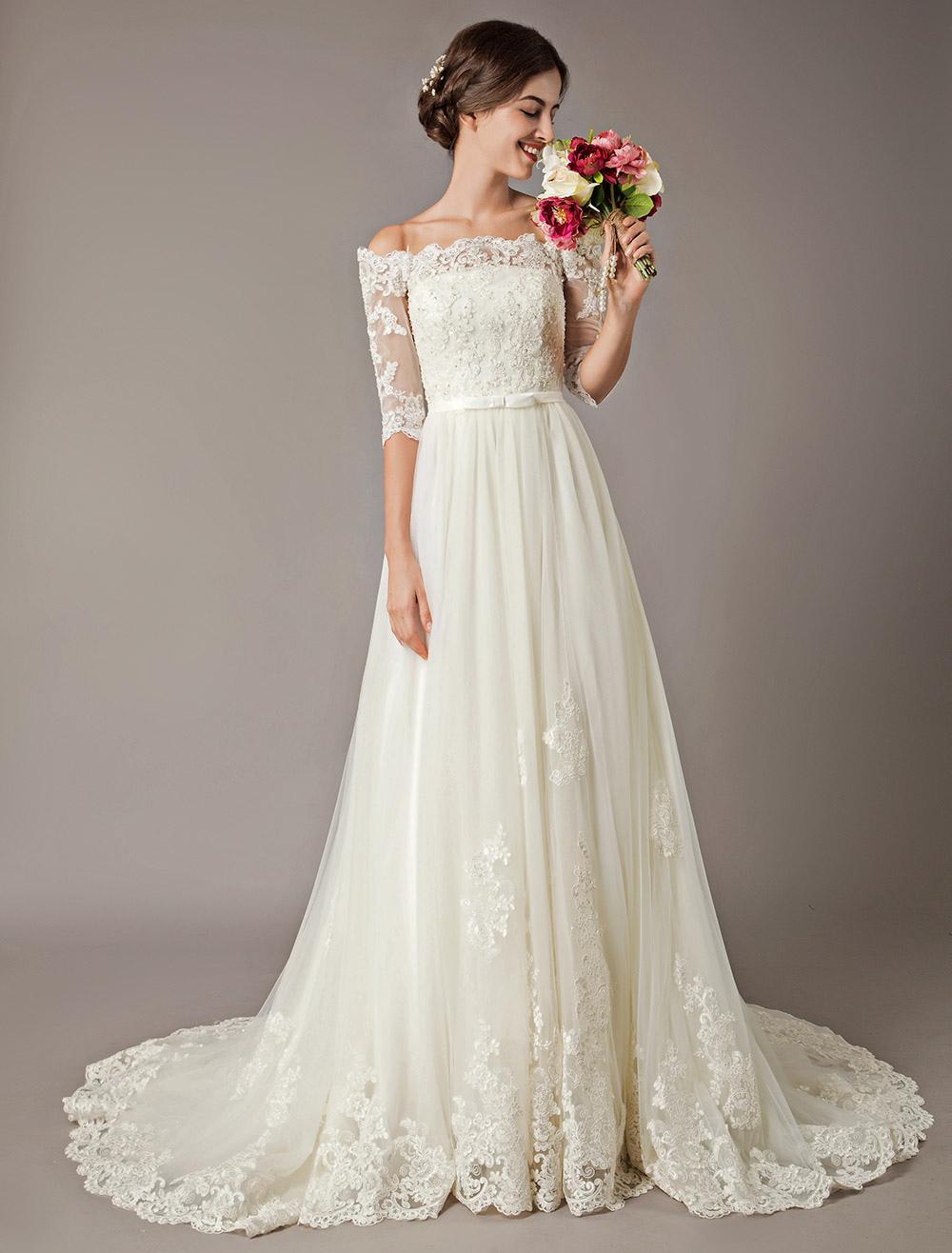 Vestidos De Casamento 2019 Marfim Fora Do Ombro Meia Manga Lace Frisado Bow Sash Tulle Vestidos De Noiva Com Cauda