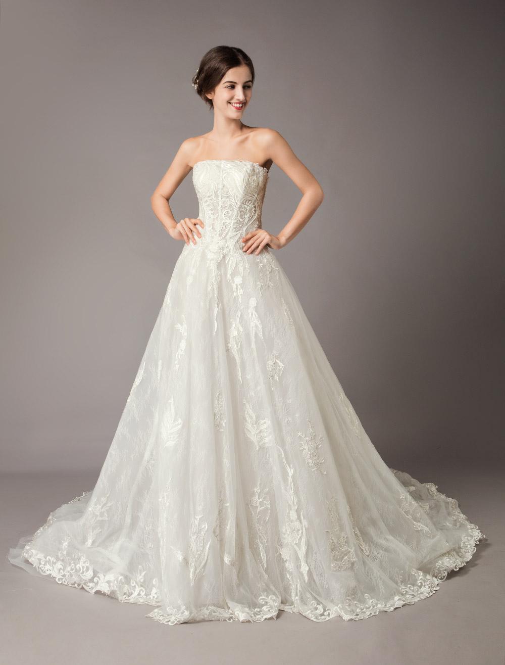 d986ce9332c5 ... Princess Wedding Dresses Detachable Sleeve Off Shoulder Lace Strapless  Ivory Chapel Train Bridal Gowns-No ...