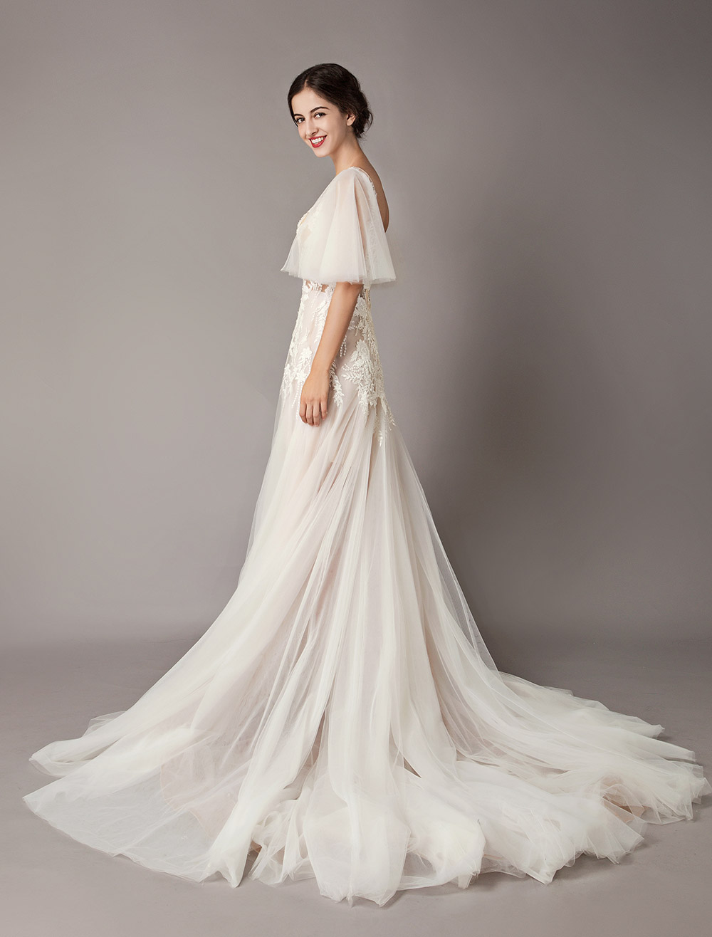 f4d0bc3a941 ... Boho Wedding Dresses Tulle Lace V Neck Butterfly Sleeve Backless Summer  Beach Bridal Gowns-No ...