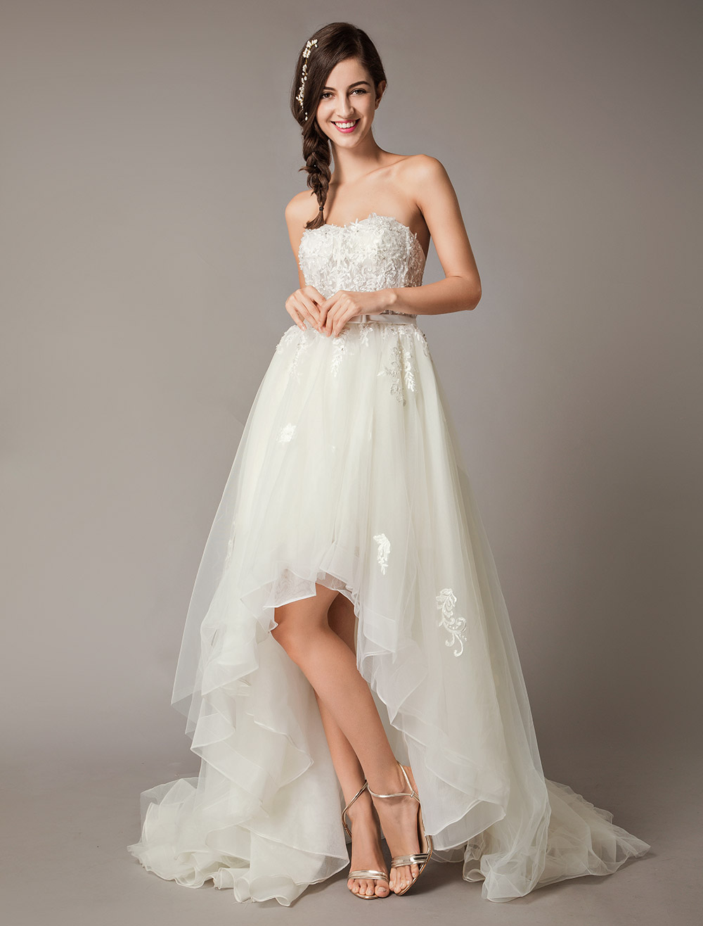 High Low Wedding Dresses Strapless Lace Tulle Bow Sash Asymmetrical Summer Beach Bridal Dress