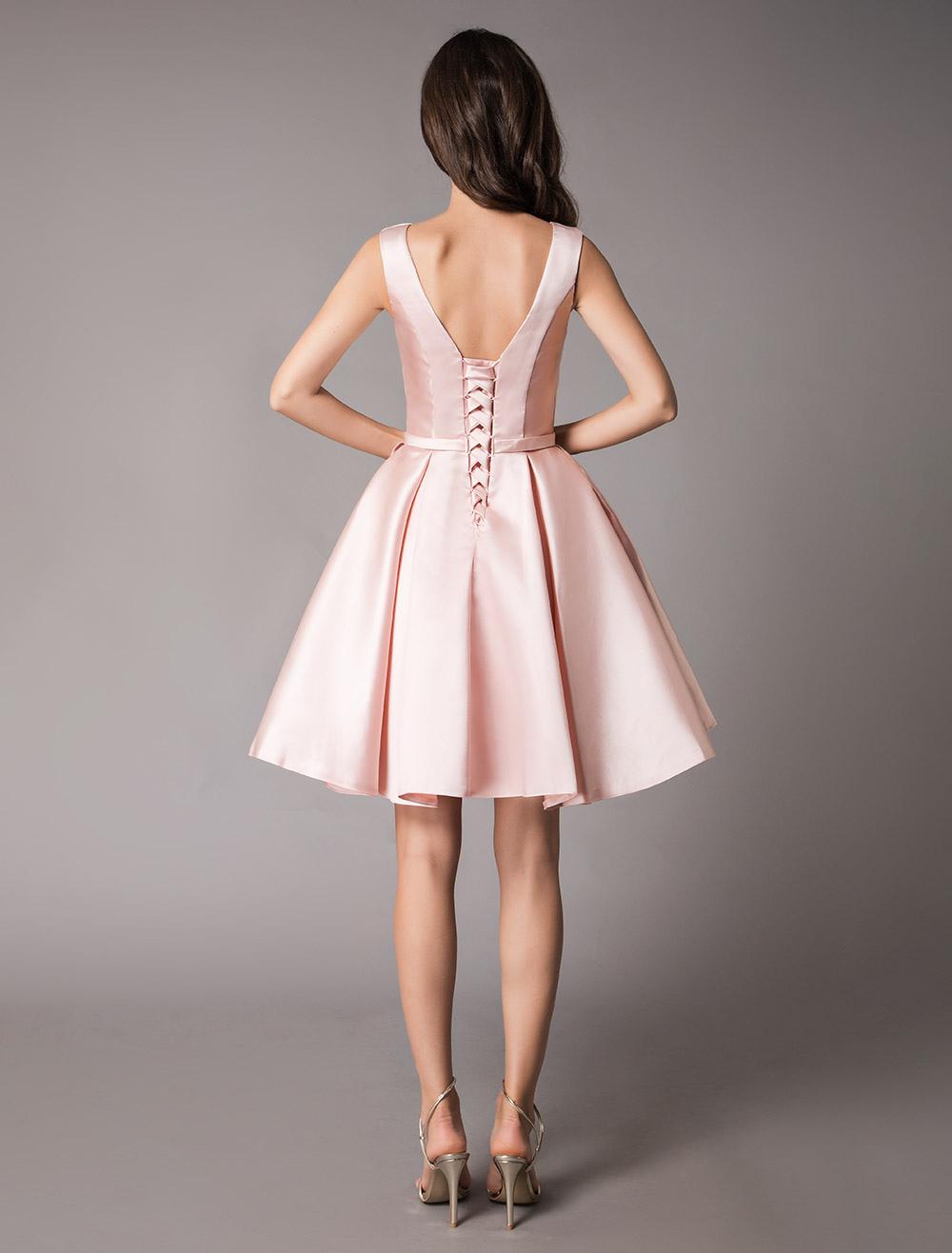 19205b315e8ff5 ... Satin Cocktail Dresses Soft Pink A Line Sleeveless Short Prom Dress-No.8.  12