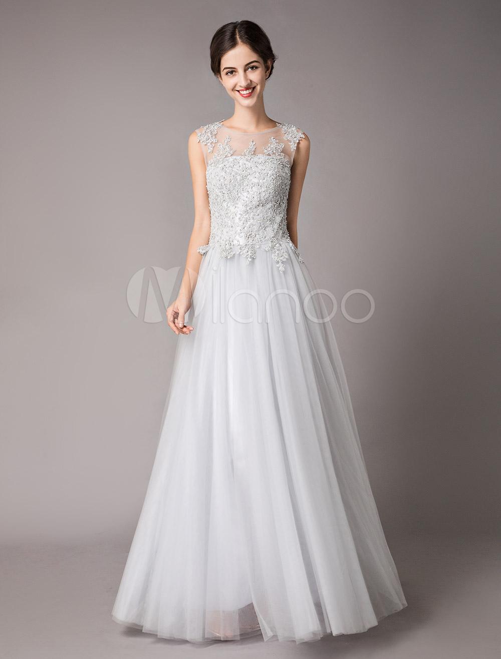 81a63fac009e Vestidos de noche plateados Formal de tul de encaje Perlas rebordear una  línea Vestido de fiesta