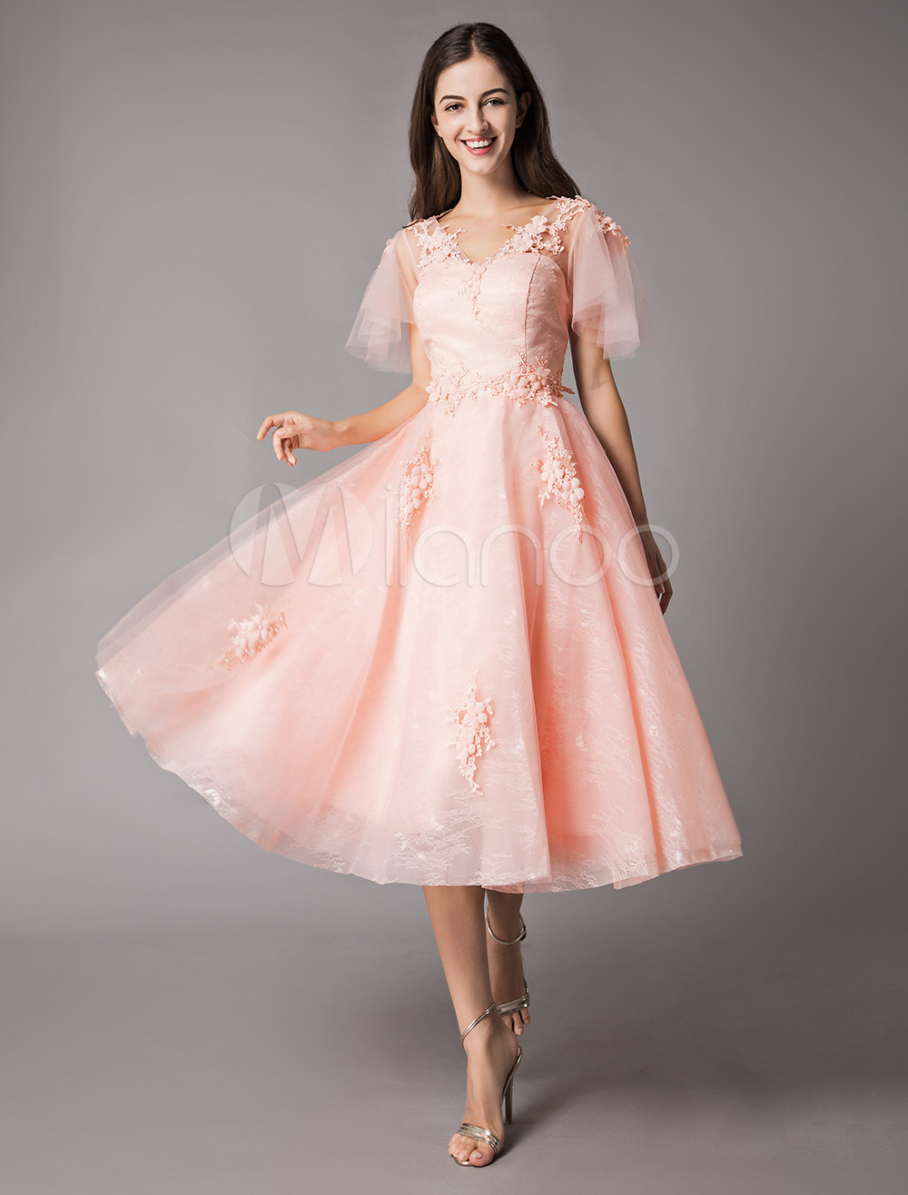 Buy Soft Pink Prom Dresses Lace Applique V Neck Short Sleeve Graduation Homecoming Party Dress for $101.19 in Milanoo store