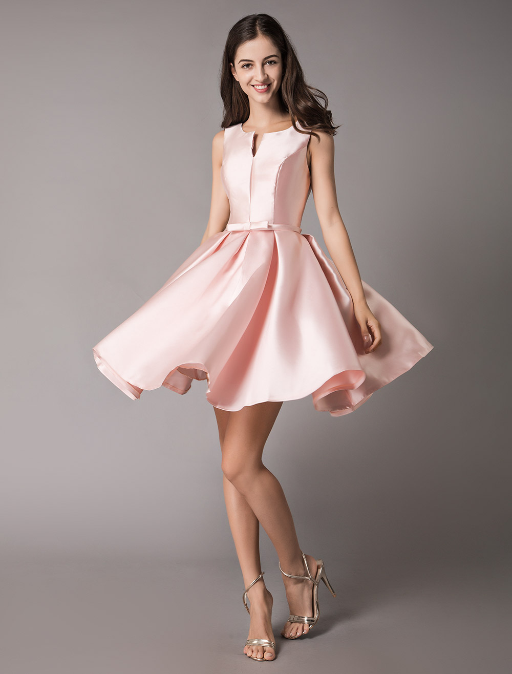 b2b8225a863fb1 ... Satin Cocktail Dresses Soft Pink A Line Sleeveless Short Prom Dress-No.5  ...