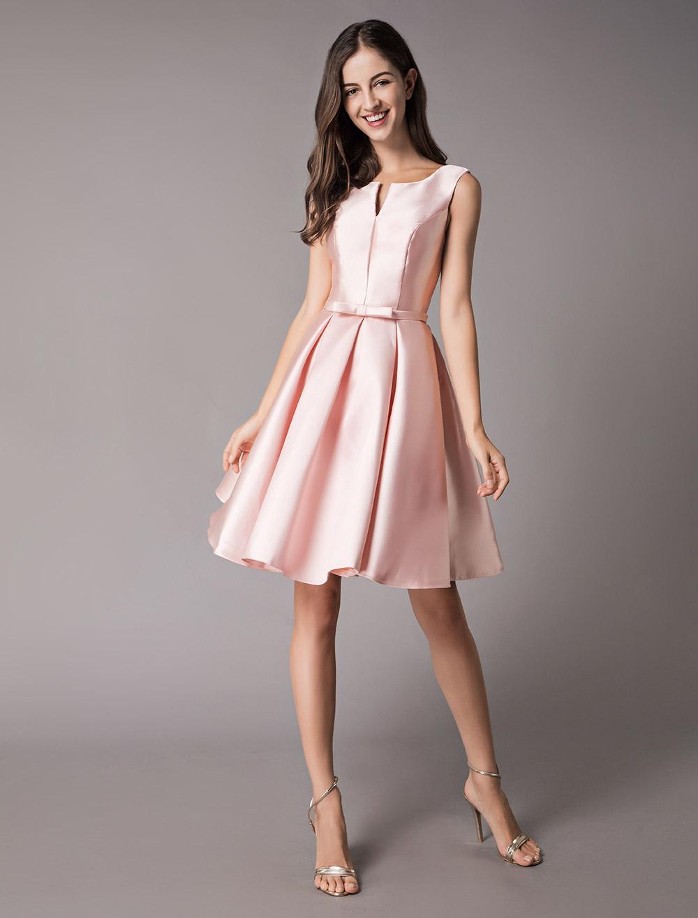 d972e630ecf4b9 ... Satin Cocktail Dresses Soft Pink A Line Sleeveless Short Prom Dress-No.3  ...