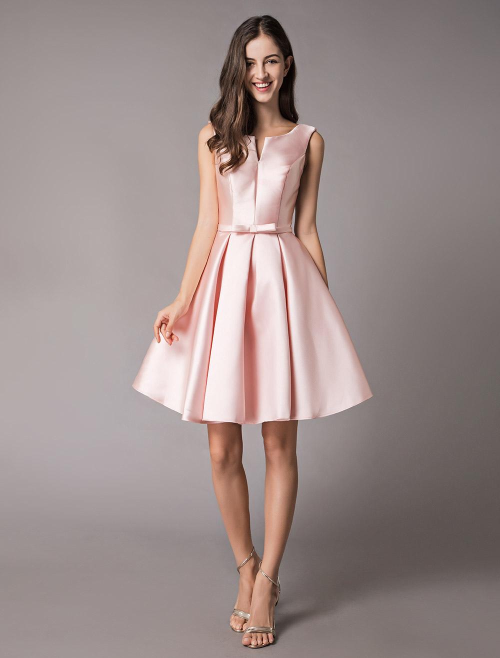 8c3f8ddf153b03 ... Satin Cocktail Dresses Soft Pink A Line Sleeveless Short Prom Dress-No.2  ...