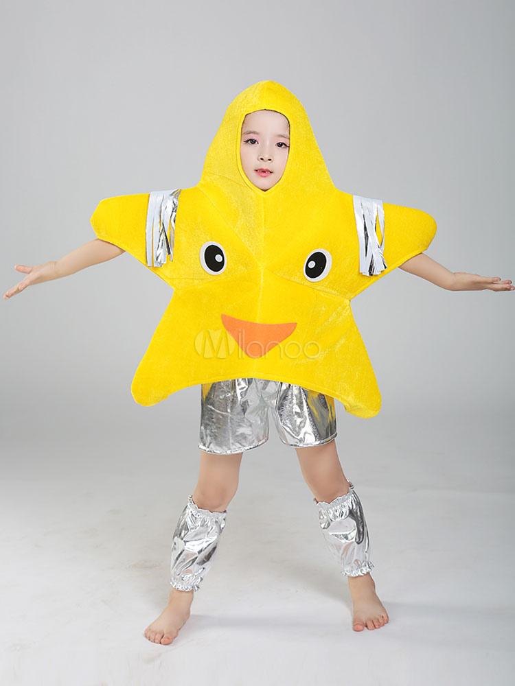 Vestito Da Stella Di Natale.Costume A Forma Di Stella Natale 2019 Costume Giallo In Velluto Per Bambini Halloween Costume Lucido Da 4 Pezzi