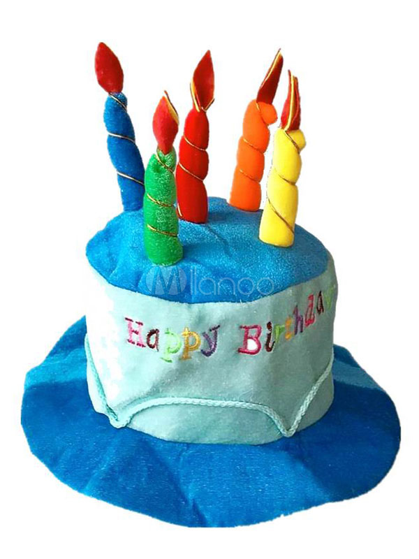 Birthday Hat Cake With Candles Pink Felt Party Cap Unisex No2