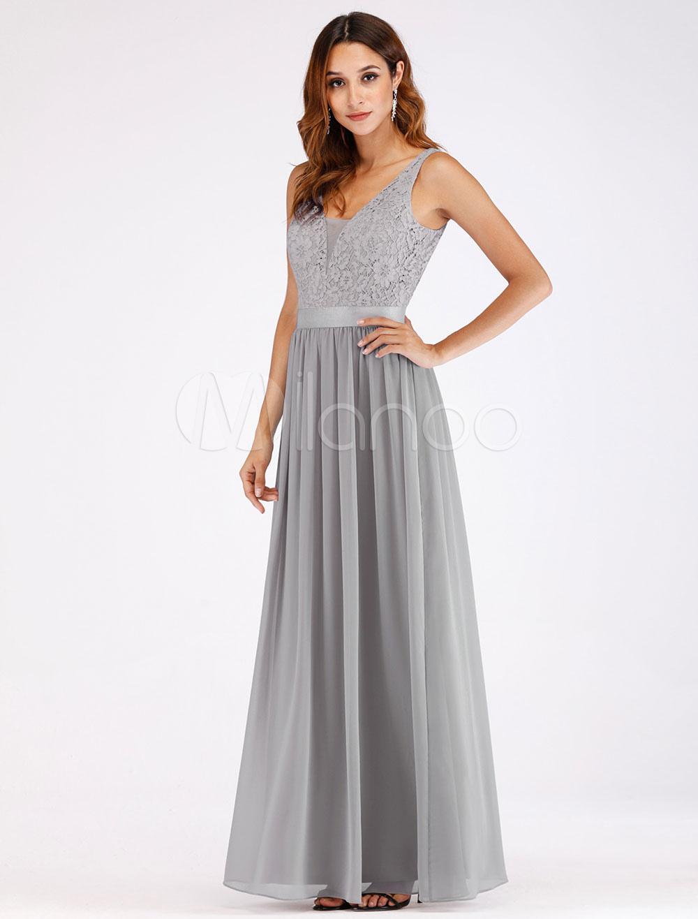 1a28feb3e Vestidos de fiesta grises claros de encaje gasa cuello en V sin mangas Maxi  vestido de ...