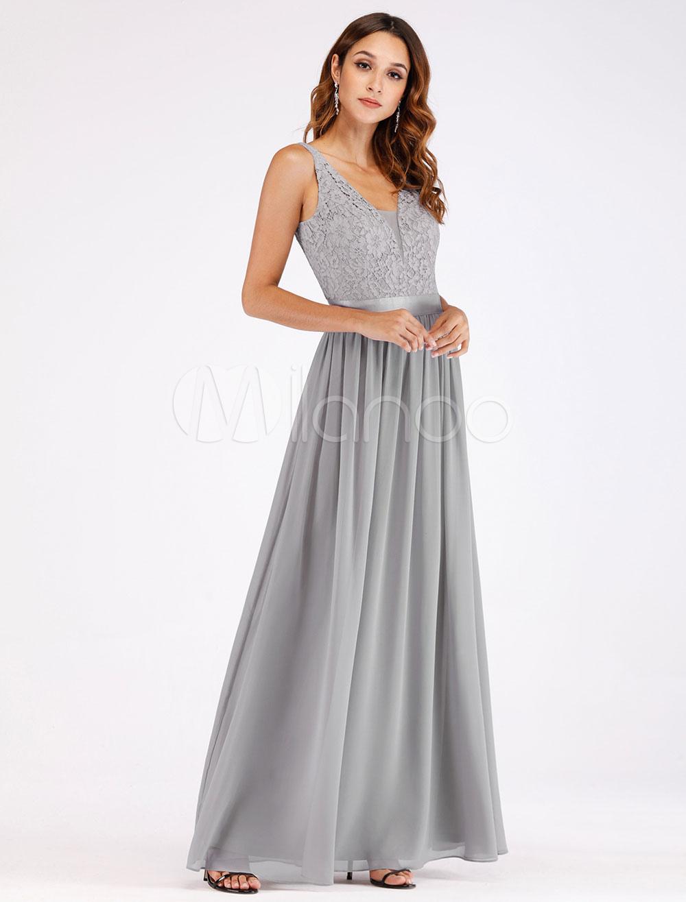 9d2d03621 ... Vestidos de fiesta grises claros de encaje gasa cuello en V sin mangas  Maxi vestido de ...