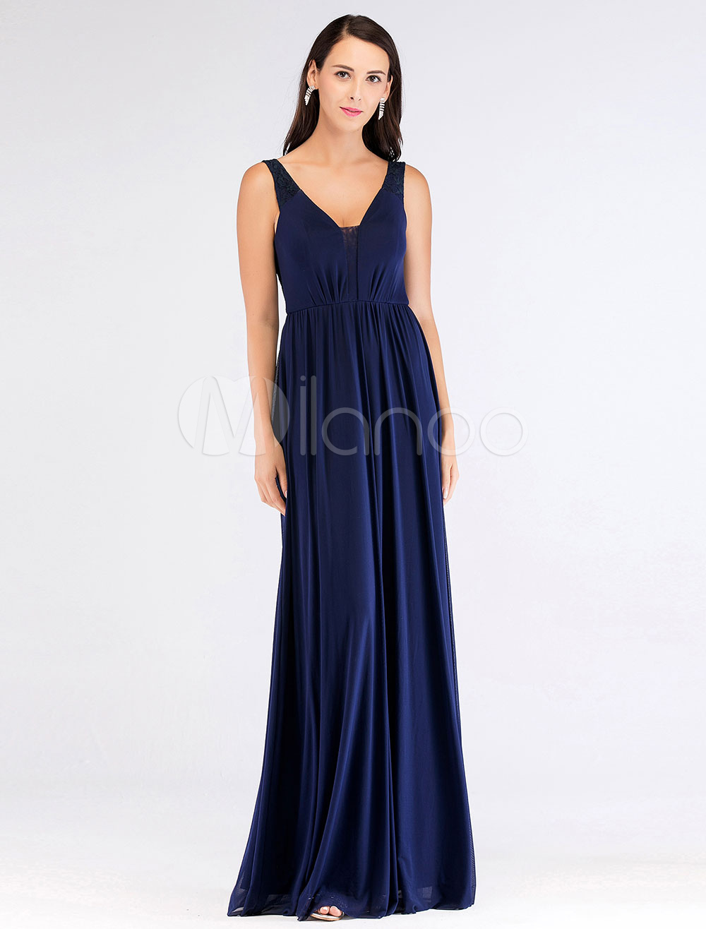 abendkleider v-ausschnitt blau abendkleid lange chiffon a line brautjungfer  kleid