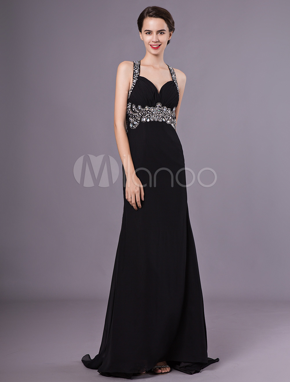 9bd3e56591 Black Evening Dresses Halter Backless Prom Dress Long Beading Sheath Formal  Gowns-No.1 ...