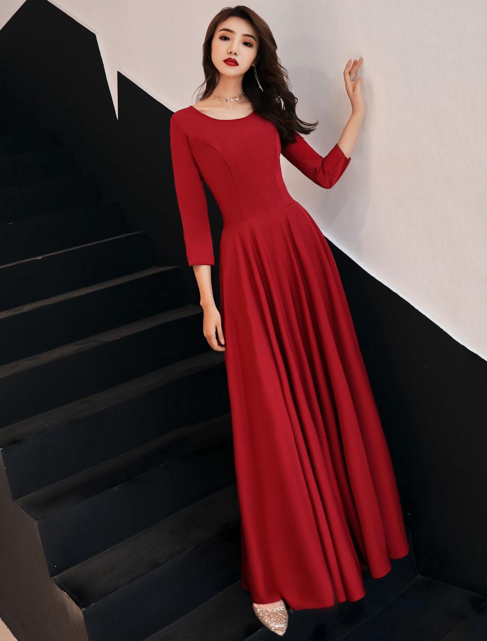 Burgund Abendkleider Langarm Abendkleid A Line ...